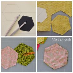 Make or buy or use an hexagon template. Its side shouldn't be smaller than cm. Mark the fabric, and cut about larger. Cut 10 different hexagons. Add a small ribbon and sew two hexagons together, on five sides. Hand Quilting, Machine Quilting, Gees Bend Quilts, Reverse Applique, Key Pouch, Pin Cushions, Quilt Patterns, Origami, Sewing