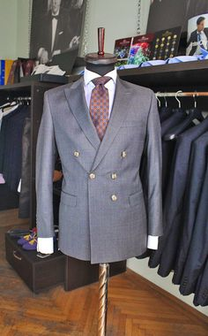 Grey windowpane double breasted suit, made by Gabriel Bespoke  #grey #doublebreasted #windowpane #suit #gabriel #bespoke #madetomeasure