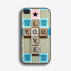 Scrabble Board Game Love You  iPhone 4 Case by iCaseSeraSera, $17.99