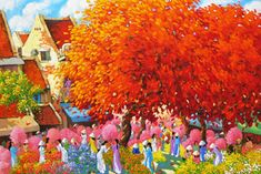 Flower market in Spring  by Vietnamese Artist Duong Ngoc Son