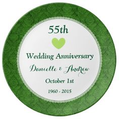 55th Wedding Anniversary EMERALD GREEN Damask W55A Porcelain Plate Emerald 40th Gifts