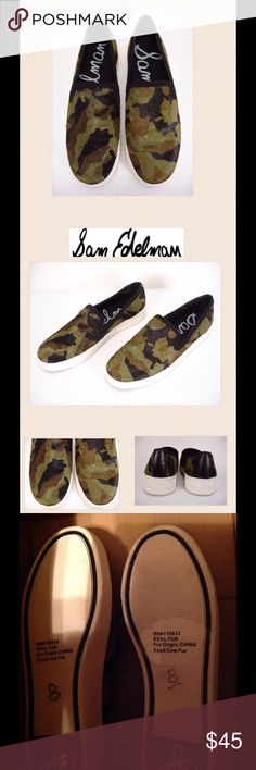NEW.  Sam Edelman Becker Camouflage sneakers New without box.  Sam Edelman Becker camouflage cow hair slip on sneakers.  Faux suede trim around top hem, faux leather trim on back, canvas lining, and man made sole.  No trades. Sam Edelman Shoes Sneakers