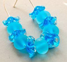 handmade lampwork glass beads seaglass set of 11 aqua by paulbead