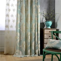 Spot The Sitting Room Bedroom Curtain Cloth Woven of Europe Type Jacquard Curtains for Living Room Knitted Flannelette No Sew Curtains, Cheap Curtains, Velvet Curtains, Grommet Curtains, Curtain Fabric, Curtain Rods, Window Curtains, Green Curtains, Long Shower Curtains