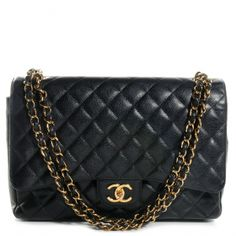 :le sigh:  This is an authentic CHANEL Caviar Maxi Double Flap in Black.   This elegant large shoulder bag is crafted of luxurious caviar diamond quilted leather.
