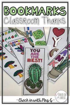 thank you gift bookmarks Life Skills Classroom, Teaching Social Skills, Teaching Language Arts, Special Education Classroom, Volunteer Appreciation, Teacher Appreciation Gifts, School Counselor, School Staff, Sunday School