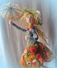 """Купить Кукла из шерсти """"Неисправимая оптимистка!"""" - зелёный, кукла в подарок, для интерьера, радость, зонтик"""