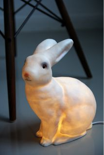 White 'Bunny Rabbit' light from Rockett St George. This rabbit shaped light is made from moulded plastic and gives out a warm, cosy glow. Little People, Little Ones, Bunny Lamp, Kids Barn, Animal Lamp, Rockett St George, Quirky Home Decor, Woodland Creatures, Interior Exterior