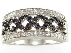 .40 ct Black White Diamond Right Hand Cocktail Ring set in 10k white gold http://donnatsjewelry.com/ #black diamond rings #fancy colored diamonds #black diamond and gold rings #colored diamond jewelry #donnatsjewelry #discount