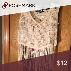 L/XL FRINGE TOP Super cute with a bralette under or as a bathing suit cover up. Tops Tank Tops