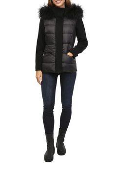 Black Puffer Coat With Collar & Hood