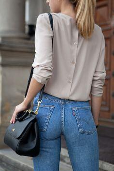 levi's 501 jeans + hexeline blouse + D&G sicily bag