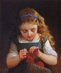 Emile Munier (French academic painter, 1840-1895) A Careful Stitch