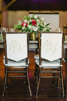 These chairs with calligraphy could not get any cuter! | Sarah Goss Photography | #bridesofaustin #austinwedding #chairtreatments