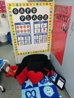 Mrs. Bishop's Second Grade Classroom - 2014 to 2015 - Conscious Discipline Safe Place, some homemade pillows, Friends and Family board