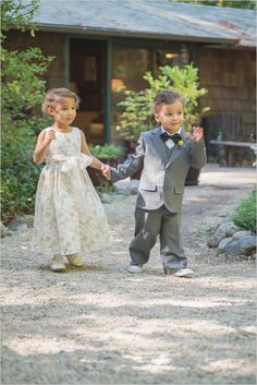 cute ring bearer and flower girl #flowergirl #ringbearer #weddingchicks http://www.weddingchicks.com/2014/02/26/fun-and-feisty-forest-wedding/