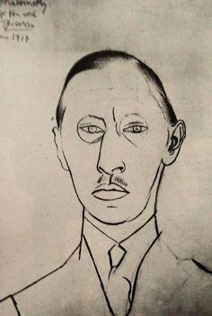 Pablo Picasso - Portrait of Stravinsky, 1917