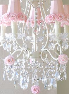 A Vintage Room | 5-Light Antique White Chandelier with Pink Rose Shades