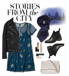 """""""stories from the city"""" by jessicuuurs ❤ liked on Polyvore featuring Hollister Co., Free People, Michael Kors, Armani Jeans, Estée Lauder, Gucci and Puma"""