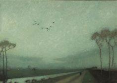 Woudsterweg in Avondschemering, oil on canvas, 1914, by Jan Mankes