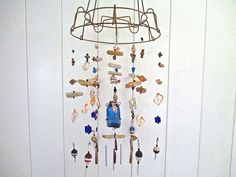 Unique Cobalt Wind Chimes, Vintage Bottle, Buoys, Driftwood, Beach Glass, Shells, Beads