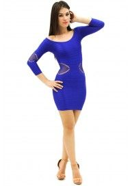 Quarter Sleeve Sexy Hugging Bodycon Mini Dress Neon Royal Blue