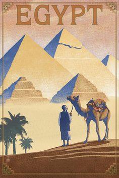 Egypt - Pyramids - Lithograph Style - Lantern Press Poster