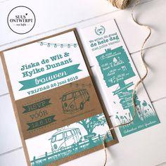 Gaan jullie binnenkort trouwen en zoeken jullie nog een tof trouwkaartje? Dit setje bestaat uit een grote en kleine uitnodiging en een RSVP kaartje. De trouwkaarten zijn in letterpress gedrukt 💕 #trouwen #suusontwerpt #wedding #rsvpcard #letsgetmarried #sayyestothedress #amersfoort #rsvp #volkswagen #trouwkaarten #trouwkaartjes #letterpress #gmund #letterpressprinting Volkswagen, Books, Libros, Book, Book Illustrations, Libri