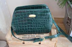 Vintage Small Green Leather Purse. Cross Body Bag. Liz Claiborne. 1980's. by blissjoybull.
