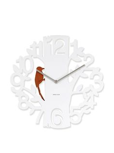Karlsson Wall Clock Woodpecker Plastic, White: Amazon.co.uk: Kitchen & Home