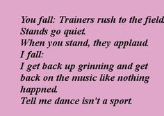 I don't care what you say...dance IS a sport...you try doing HALF the stuff we do...