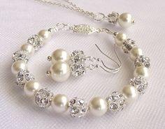 wedding jewelry bridal jewelry sets pearl by nefertitijewelry2009, $54.00