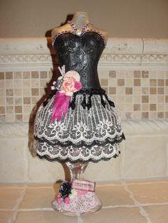Altered paper mache dress form
