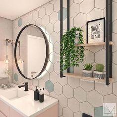 Bathroom Design Small, Bathroom Interior Design, Toilet Room Decor, Pastel Bathroom, Hexagon Tile Bathroom, Timeless Bathroom, Tiny Bath, Pastel Decor, Cool Rooms