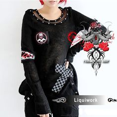 Black Cyber Goth Punk Emo Clothes Skull Long Sweater Men Women SKU-11411011