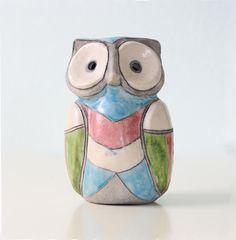 Retro Owl Ceramic painted blue green pink white von bellalulu