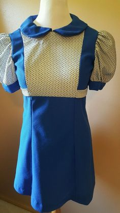 Vintage Womens Dress Blue Old Possibly 1940 Handmade Size Small Medium
