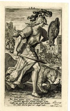 Ira, WL, woman in armour, with a bear at her side; number four from a set of seven numbered plates; each with caption upper margin centre or upper right of centre; each with four lines Latin in lower margins; numbered in upper right corner, below uppe Seven Deadly Sins Bible, 7 Deadly Sins, Bible Tattoos, Black Art Tattoo, 7 Sins, Tattoo Pain, Esoteric Art, Athena Goddess, Vintage Drawing