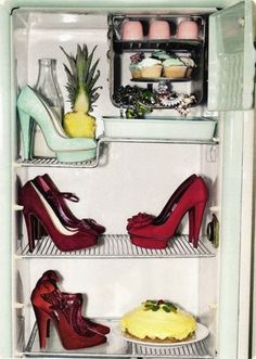 Shoe Fridge  :) This is hilarious for a couple reasons..dad never used his refrigerator for years and he had coloring books etc in..my kids almost choked when they went to get something hahahaa and thought you would laugh but also because you collected shoes thought this was cute for you mom