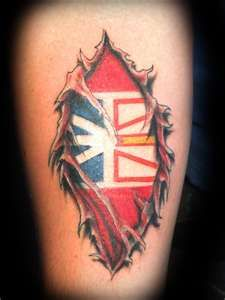 Love the ripped skin look Flag Tattoos, Tatoos, Newfoundland Flag, Redneck Crafts, Cool Tats, My Heritage, Future Tattoos, Don't Judge, Sleeve Tattoos