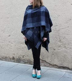 Wrap tutorial. This style is an open poncho with 3 suggestions for wearing it.