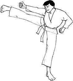 coloring page karate kids n fun