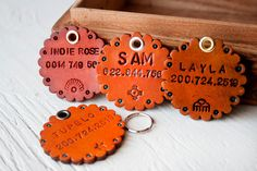 Custom Leather Dog Tag - Personalized Pet name and phone number - custom hand carved - cat dog pig ferret MXS $20.00