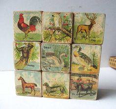 Set Antique Lithograph Paper on Wood Child's  Blocks in Original Box c 1890, ABC and Picture Blocks, Original Victorian