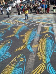 Fish Net crosswalk by Roadsworth