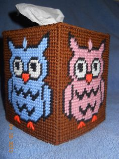 Owl Tissue Box Cover Plastic Canvas by SpyderCrafts on Etsy, $10.00
