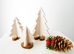 Set Of 3 Handmade Wooden Christmas Trees by BartLOVEskydesign