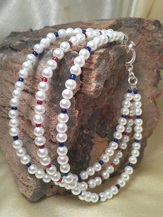 Beautiful White 3 Strand Pearl Strung Bracelet by SweetTreazures, $25.00