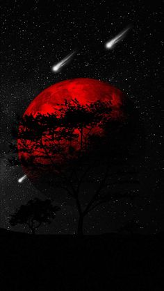 Red Planet Dark Tree - iPhone Wallpapers