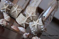 Pretty and easy- Peçete Halkaları Seashell Crafts, Beach Crafts, Crafts To Do, Paper Crafts, Diy Crafts, Craft Projects, Projects To Try, Burlap Crafts, Idee Diy